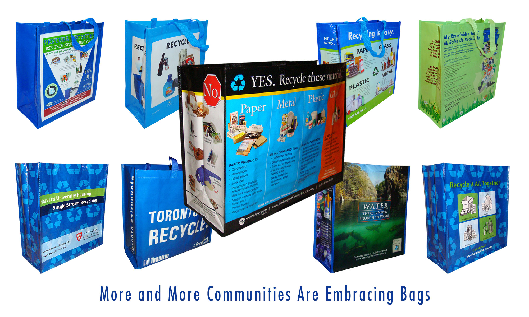 Collection of reusable recycling bag from communities and municipalities